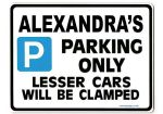ALEXANDRA'S Personalised Parking Sign Gift | Unique Car Present for Her |  Size Large - Metal faced